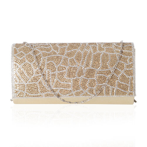 Gold Satin with White and Yellow Crystal Studded Clutch Bag with Shoulder Strap (Size 21x10.5x4.5 Cm