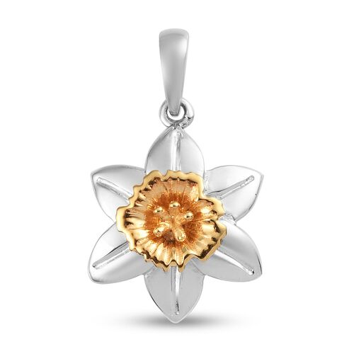 Floral Pendant in Platinum and Yellow Gold Plated Sterling Silver