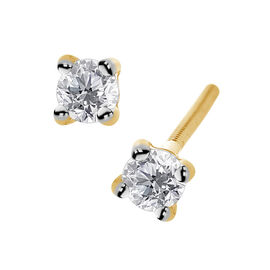 ILIANA 18K Yellow Gold IGI Certified Diamond (Rnd) (SI/G-H) Stud Earrings (with Screw Back) 0.250 Ct