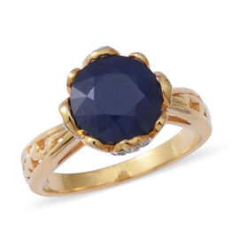 Kanchanaburi Blue Sapphire (Rnd), Natural White Cambodian Zircon Ring in Rhodium and Gold Plated Ste