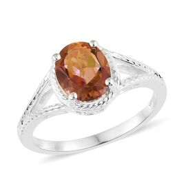 Twilight Mystic Quartz (Ovl) Solitaire Ring in Sterling Silver 2.250 Ct.