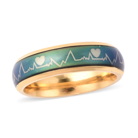 New Concept Mood Band Ring Heartbeats Design in Gold Tone