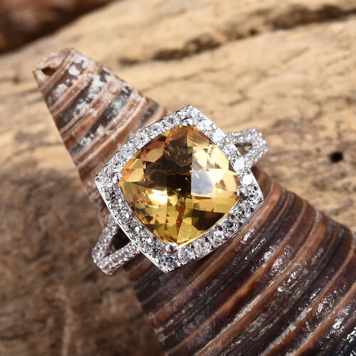 Golden Beryl (Cush 3.50 Ct), Natural Cambodian Zircon Ring in Platinum Overlay Sterling Silver 4.665 Ct.