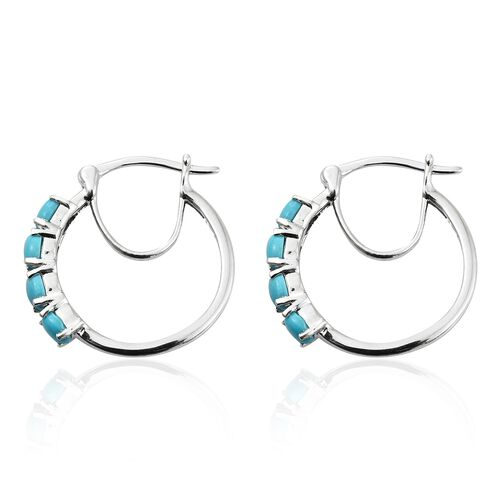 Arizona Sleeping Beauty Turquoise (Ovl) Hoop Earrings (with Clasp Lock) in Platinum Overlay Sterling Silver 1.500 Ct.