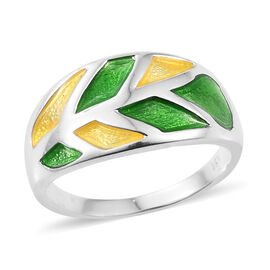 Artisan Crafted Leaves Enamelling Ring in Sterling Silver 5.27 Grams
