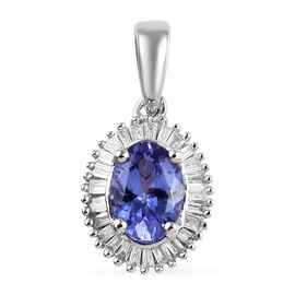 9K White Gold AA Tanzanite (Ovl), Diamond Pendant 1.10 Ct