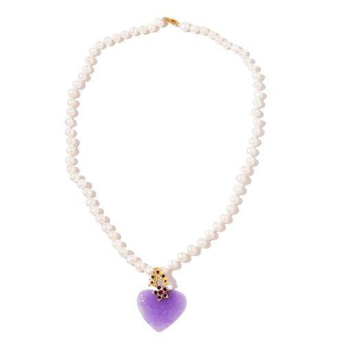 Colour Of Year-Freshwater Pearl (Rnd 6-7mm), Purple Jade and Mozambique Garnet Heart Necklace (Size 18) in Rhodium and Yellow Gold Overlay Sterling Silver