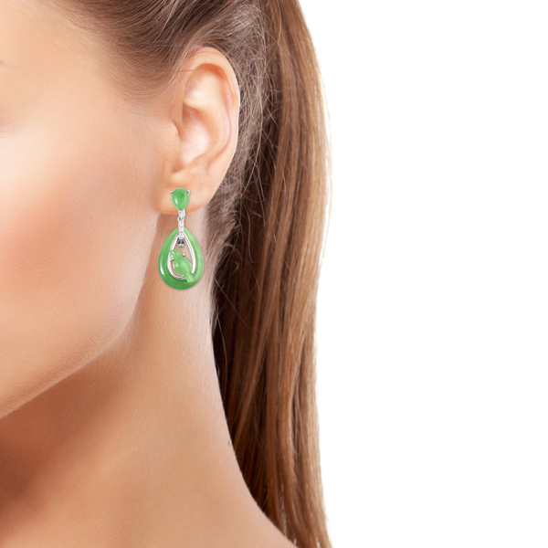 Green Jade and Natural Cambodian Zircon Magpie Bird Drop Earrings (with Clasp) in Rhodium Overlay Sterling Silver 23.45 Ct.
