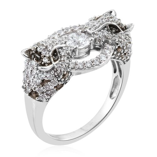 J Francis - Platinum Overlay Sterling Silver (Rnd) Leopard Ring Made with SWAROVSKI ZIRCONIA. Silver wt 6.68 Gms. Number of Swarovski 123.