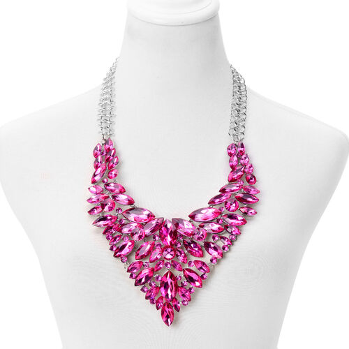 Simulated Pink Sapphire Crystal Statement Necklace (Size 24) Silver Plated