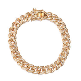 3.05 Ct Diamond Curb Chain Bracelet in Gold Plated Sterling Silver 22 Grams 7.5 Inch