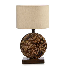 NAKKASHI - Solid Wood Hand Carved Table Lamp in Antique Burn Wax Finish (Lamp Shade Included)