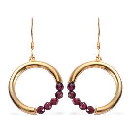 Rhodolite Garnet (Rnd) Hook Earrings in Yellow Gold Overlay Sterling Silver 1.50 Ct