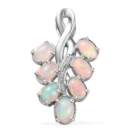 AA Ethiopian Welo Opal and Diamond Pendant in Platinum Overlay Sterling Silver 2.25 Ct.