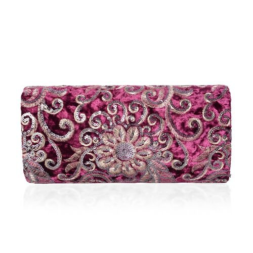 Luxury Burgundy Brocade Embroidery with Sparkling Sequin Embellished Large Clutch (Size 23x10.5x5.5 Cm)