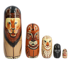Hand Painted Wooden Nesting Doll/Stacking Dolls(Lion family)- Set of 5 Piece (  15X5, 9.5X3, 5.5X2,