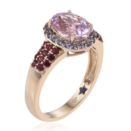 GP 9K Yellow Gold AAA Kunzite (Ovl 3.00 Ct), Rubelite, Iolite and Kanchanaburi Blue Sapphire Ring 3.800 Ct.