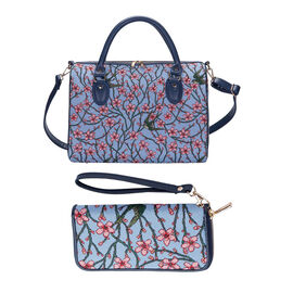 Signare Tapestry -Travel Bag in Blossom and Swallow Design with strap (39x27x20cm) with Free RFID Bl