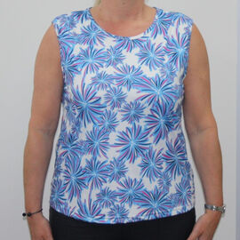 Aura Boutique Floral Printed Sleeveless Top - White and Blue