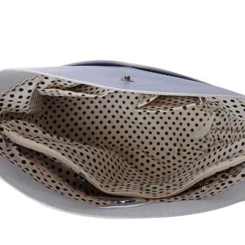 Super Reduction Deal 100% Genuine Leather Dusky Blue Colour Shoulder Bag with Removable Shoulder Strap (Size 28x25x22x13 Cm)