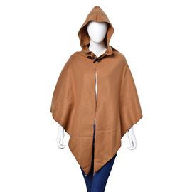 Winter Special-Italian Designer Inspired - Khaki Colour Poncho with Cap (Free Size)