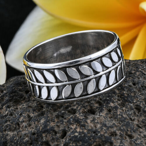 Royal Bali Collection Sterling Silver Leaf Band Ring