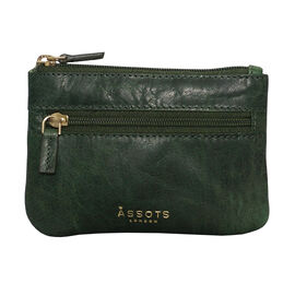 Assots London Mary 100% Genuine Leather Zip Top Coin Purse in Green (Size 12.5x8.5cm)