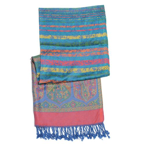 Autumn Winter Special Supersoft Modal Blue, Red and Multi Colour Paisley Pattern Reversible Jacquard Scarf with Tassels (Size 190X70 Cm)