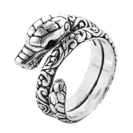Royal Bali Collection Mozambique Garnet (Rnd) Dragon Ring (Size P) in Sterling Silver 0.120 Ct, Silver wt 12.