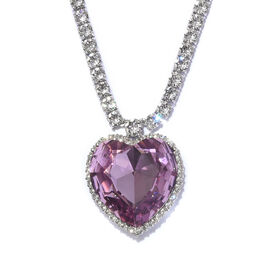 J Francis - Crystal from Swarovski Light Amethyst Crystal (Hrt 28 mm), White Crystal Necklace (Size