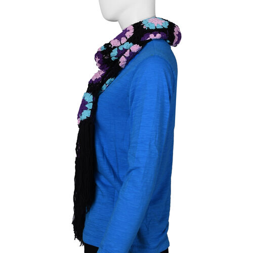 Limited Collection La Marey 100% Cotton Hand Crochet Sky Blue, Black and Multi Colour Floral Scarf (86x160x18cm)