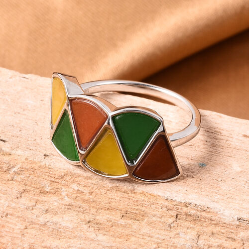 Isabella Liu Dance of Ginkgo - Green, Red and Yellow Jade Ring in Rhodium Overlay Sterling Silver 6.49 Ct.