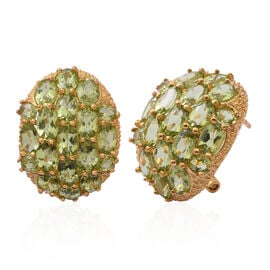 One Time Deal-Hebei Peridot (Ovl) Cluster Earrings (with French Clip) in Yellow Gold Overlay Sterling Silver 15.00 Ct. Silver wt 9.20 Gms.
