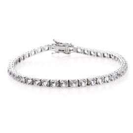 9.72 Ct Petalite Tennis Bracelet in Rhodium Plated Silver 12.4 Grams 8.25 Inch
