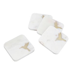 NAKKASHI - Set of 4 - Square Marble Coasters with Humming Bird Brass Inlay (Size 10cm)
