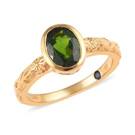 GP 1.25 Ct Diopside and Kanchanaburi Blue Sapphire Ring in Rose Gold Plated Sterling Silver