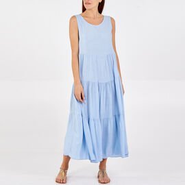 TAMSY 100% Viscose Open Back Tie Detail Tiered Midi Dress (One Size, 48x128cm) - Pale Blue