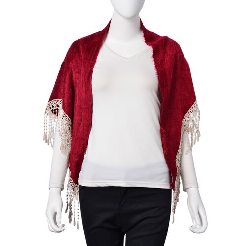 Designer Inspired- Wine Red Colour Gypsy Style Triangle Scarf with Tassels (Size 130x60 Cm)