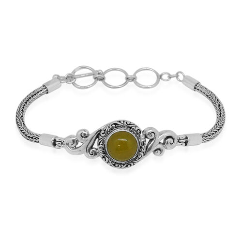 Royal Bali Collection Yellow Jade (Rnd) Bracelet (Size 8 with Extender) in Sterling Silver 4.972 Ct. Sterling Silver Wt 14.00 Gms