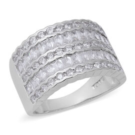 ELANZA Simulated Diamond (Rnd and Bgt) Ring in Rhodium Overlay Sterling Silver, Silver wt 6.00 Gms