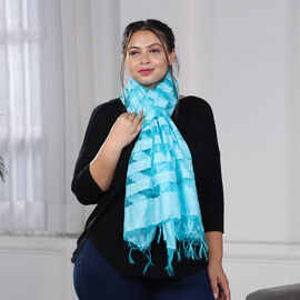 JOVIE - New Season Handmade Scarf with Fringes in Blue (Size 76x235cm)