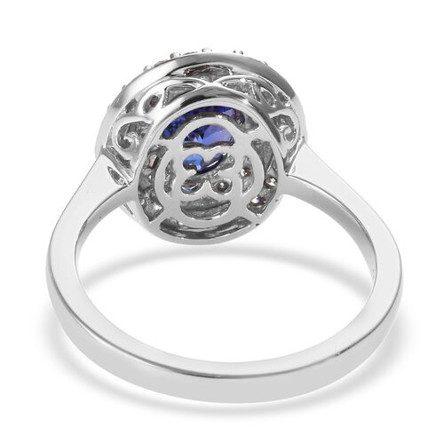 RHAPSODY 950 Platinum AAAA Tanzanite and Diamond (VS/E-F) Ring 1.70 Ct, Platinum wt 6.34 Gms