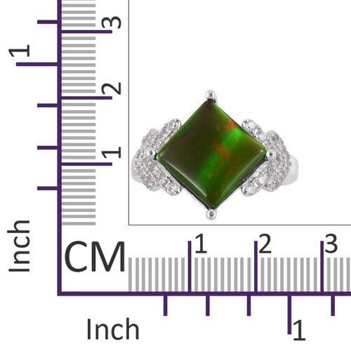 AA Canadian Ammolite (Sqr 10mm), Natural White Cambodian Zircon Ring in Rhodium Plated Sterling Silver 3.750 Ct.