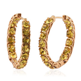 J Francis - Crystal from Swarovski Topaz Colour Crystal (Rnd) Hoop Earrings (with Clasp) in Gold Plated