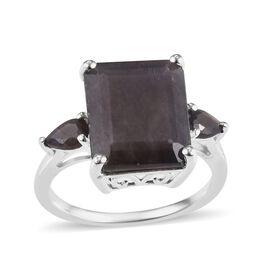 Rare Size Zawadi Golden Sheen Sapphire Emerald Cut Ring in Sterling Silver 8.00 Ct.