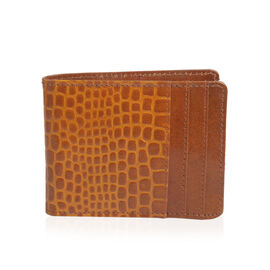 100% Genuine Leather Tan Colour Bi-Fold Mens Wallet (Size 12x9 Cm)