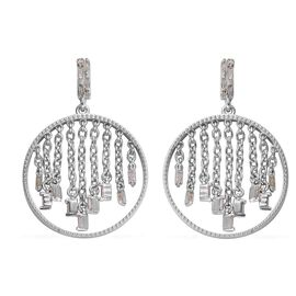 Diamond (Rnd and Bgt) Earrings (with Push Back) in Platinum Overlay Sterling Silver 0.33 Ct.