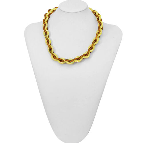 Yellow Woven Sparkling Mesh Necklace (Size 20) and Bracelet (Size 7) Set