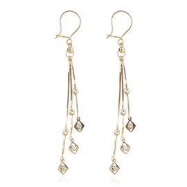 Tassels Kite Shape Dangle Earrings in 9K Gold 2.29 Grams
