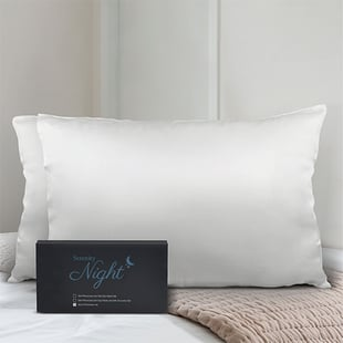 Set of 2 - Both Sides 100% Mulberry Silk Pillowcase(Size:50x75cm) - Ivory